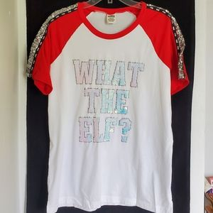 PINK/ Sequin What The Elf Holiday Tee